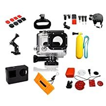 Clear Waterproof Housing and SIlicone Body Case for GoPro Hero 3 Hero 3+ Silver Hero 4 Case with 19 pcs for Go Pro Accessories Accessory Bundle Surf Skateboard Snowboard Helmet Mount Floating Handle