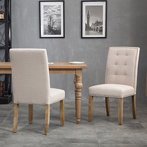 Merax Set of 2 Stylish Tufted Upholstered Fabric Dining Chairs with Nailhead Detail and Solid Wood Legs (Velvet Grey),