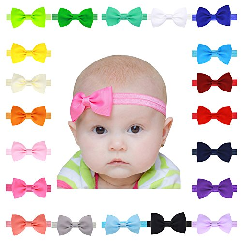 Enjoymart 20Pack Supper Lovely Baby Hair Bands Different Colors Bow Headband Wrap (Pack of 20) (Nylon Hair Band)