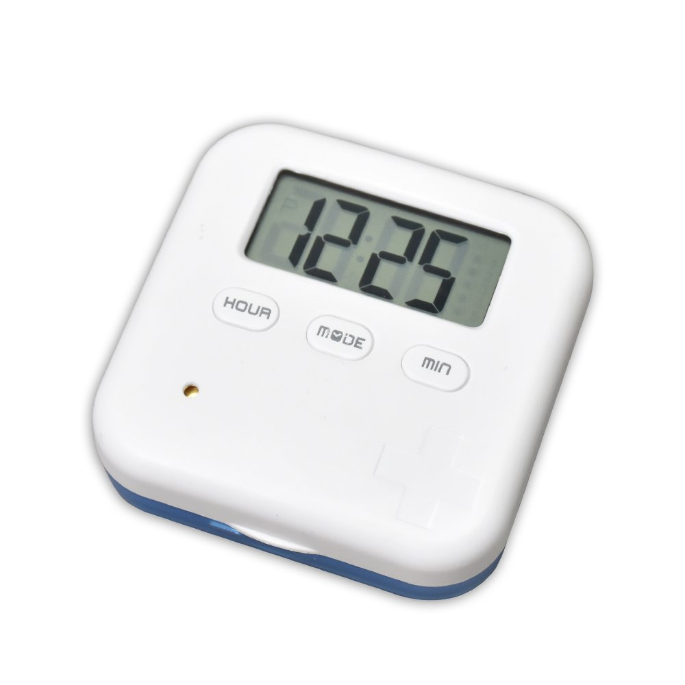 U-Trak Pill Box Alarm Pill Organizer Mini Portable Daily Pill Case with Digital Alarm Clock Reminder for Pills/Vitamin/Supplements Travel Outdoor 4 Compartments Blue