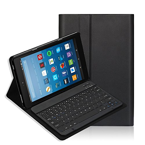 Fire HD 10 Keyboard Case(7th Generation,2017) iThrough® Wireless Bluetooth Keyboard for All-New Fire HD 10, Magnetically Detachable Bluetooth V3.0 keyboard with Slim Light Stand Cover Shell (Black) (Android Tablet Keyboard Cover)