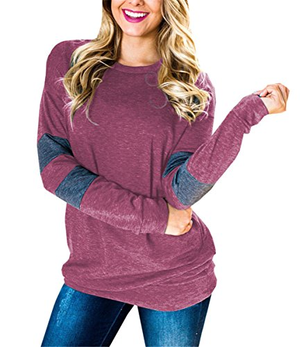 UniDear Women Casual Stripes Long Sleeve Banded Bottom Pullover Sweatshirt Wine Red XX-Large (Banded Bottom Tunic)