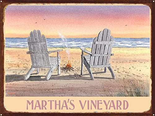 Martha's Vineyard Massachusetts Adirondack Chairs Beach Rustic Metal Art Print by Dave Bartholet (18