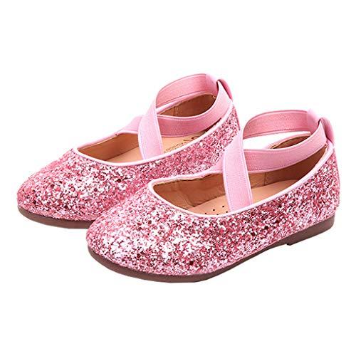 Little Girls Shiny Sequins Dance Ballet Flats Slip On Princess Dress Shoes Pink Size 27 -
