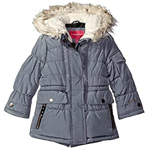 London Fog Little Girls Heavyweight Expedition Parka With Print Lining, Grey, 6X