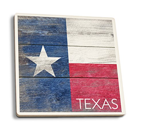 Rustic Texas State Flag (Set of 4 Ceramic Coasters - Cork-backed, Absorbent) - Collectible Coasters