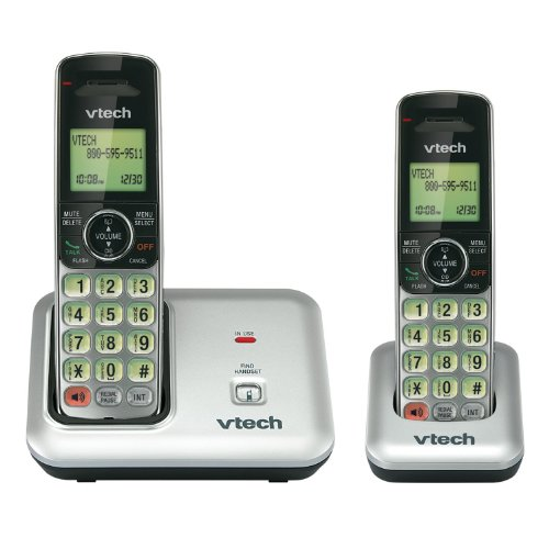(VTech CS6419-2 2-Handset DECT 6.0 Cordless Phone with Caller ID, Expandable up to 5 Handsets, Wall Mountable, Silver/Black)