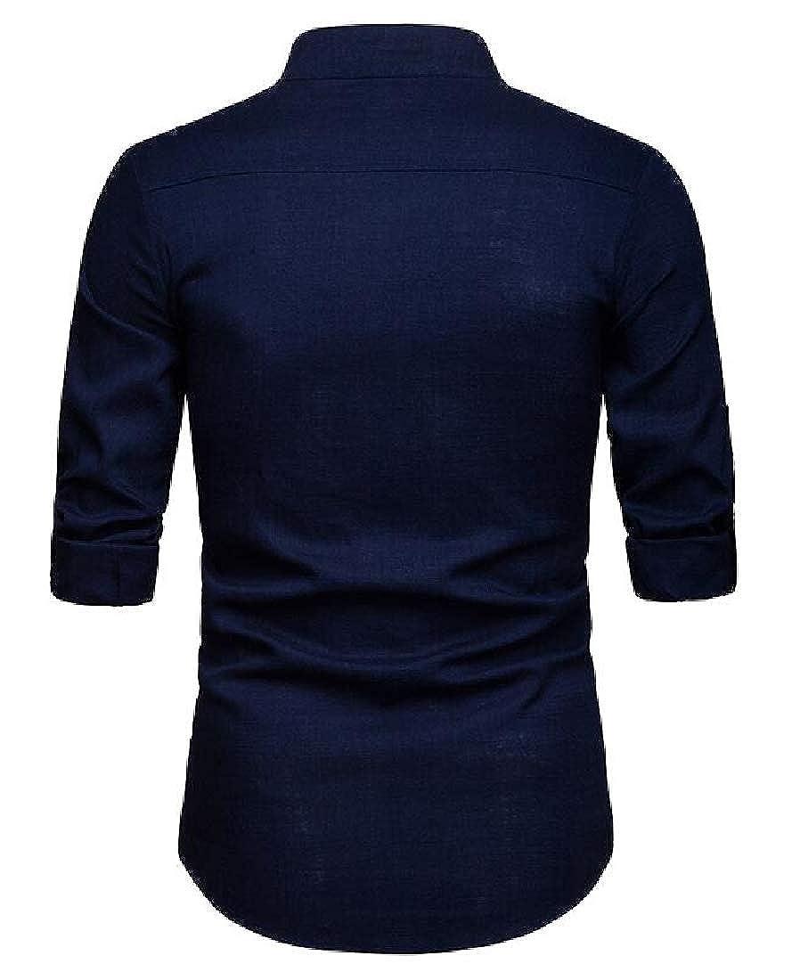 Suncolor8 Mens Casual Plain Long Sleeve Business Cotton Linen Button Down Dress Shirt