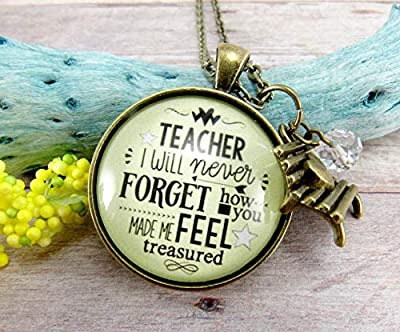 "24"" Teacher Necklace I Will Never Forget Inspirational Jewelry Teaching Appreciation Gift Card Unique Park Bench Charm"