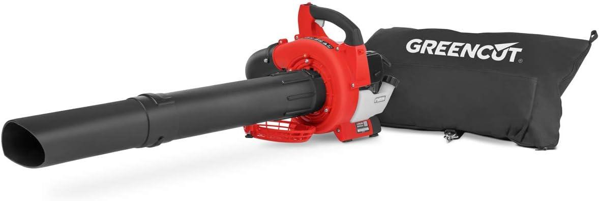 GREENCUT EBV260X - Soplador aspirador de hojas de gasolina de 26cc y velocidad máx 225km/h con bolsa recogida de 35L, Incluye 2 tubos para el Aspirado