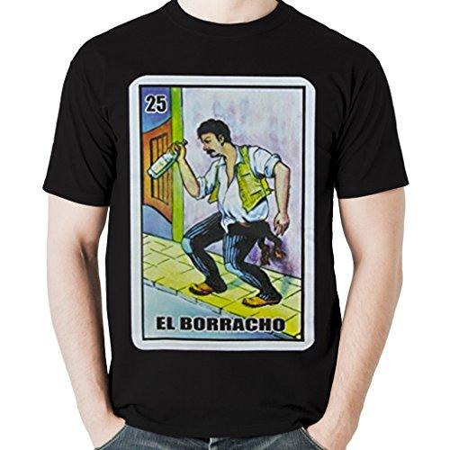Viva Mexico Mens El Borracho Funny Loteria Mexican Game T Shirt Large Black