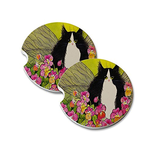 Natural Sandstone Car Drink Coasters (set of 2) - Tuxedo Maine Coon Kitty Fairy with Pansies Cat Art by Denise Every ()