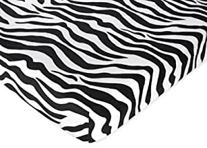 Turquoise Funky Zebra Collection Fitted Crib Sheet by Sweet Jojo Designs - Zebra Print Cotton