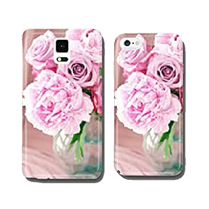 floral composition with a pink peony and roses . cell phone cover case Samsung S5