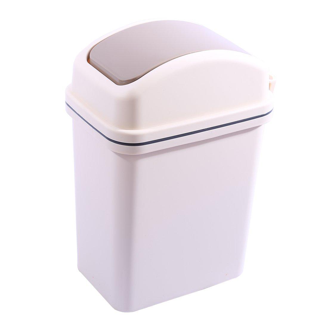 Flip Trash Can, WOLFBUSH 6 Liter Plastic Waste Bin with Swiveling Lid Bathroom Kitchen Office Garbage Litter Bin, Rectangular
