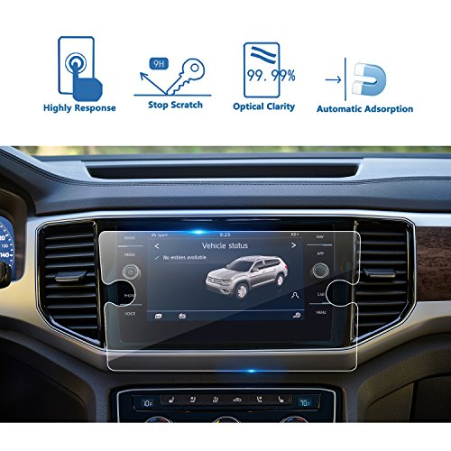 LFOTPP 2018 Volkswagen Atlas 8 Inch Tempered Glass Car Navigation Screen Protector, [9H] Infotainment Screen Center Touch Screen Protector Anti Scratch High Clarity by LFOTPP