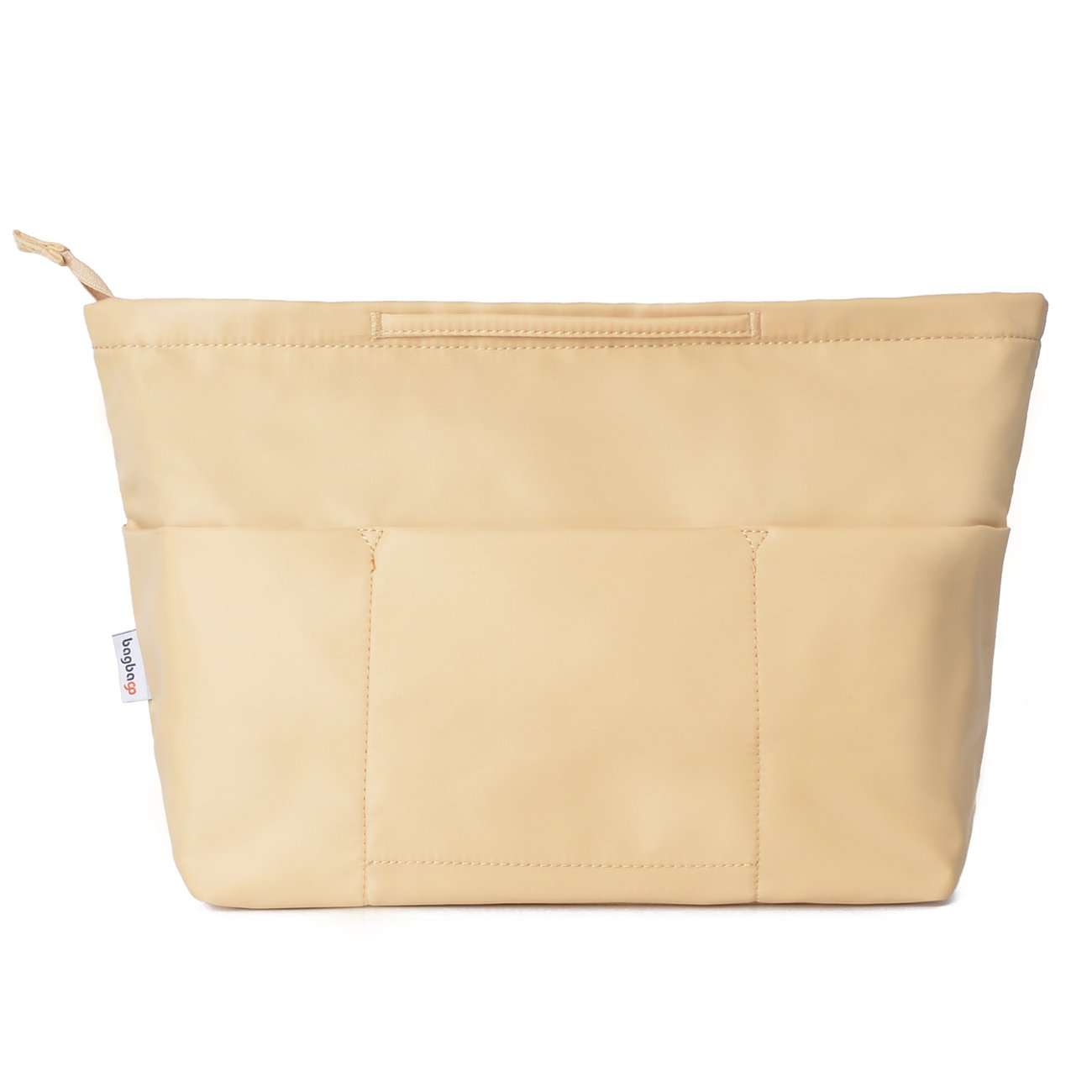 13 Pockets Handbag Organizer Liner Bag in Bag with Anti-theft Keychain (M,Khaki)