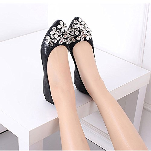 Pointed Foldable Black3 Flats Rhinestone Loafer Ballet Slip Womens Soft On Toe wZFxqgFXp
