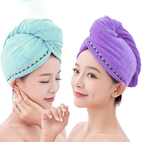 Yugefom Quick Dry Hair Turban Towels 2 Pack, Ultra Absorbent & Fast Drying Microfiber Towel Hair Drying Towel Cap for Women & Girls