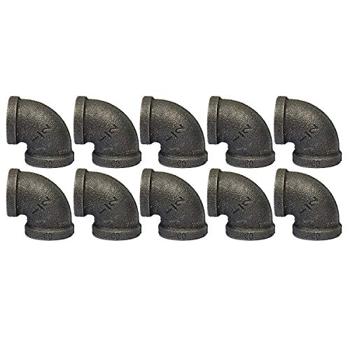 IBEUTES 10-Pack Black Malleable Iron Cast Pipe Fitting Elbow 90 Degree 1/2