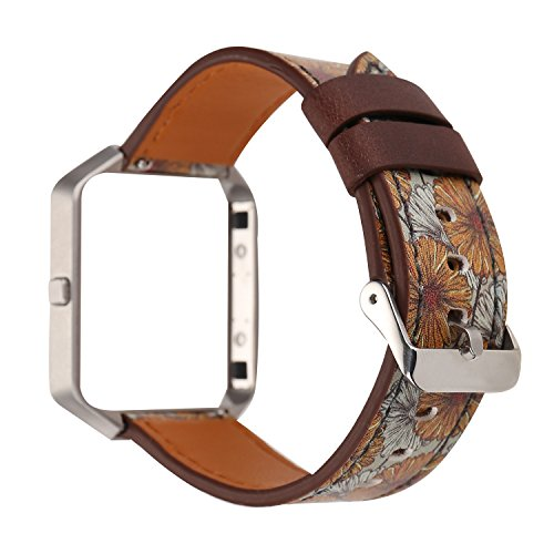 Replacement Band for Fitbit Blaze, Watchband Floral Soft Leather Strap Replacement Watch Band Wristband Bracelet Strap and Frame for Fitbit Blaze (Retro flower Yellow) (Cut Yellow Flowers)