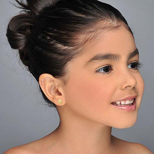 14K Fine Yellow Gold Enamel Bear Screw Back Stud Earrings for Girls Gift Children Kids by youme Gold Jewelry (Image #1)