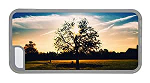 Customized iphone thinnest cover Tree silhouette of a summer afternoon TPU Transparent for Apple iPhone 5C