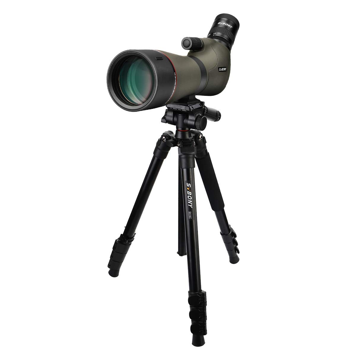 SVBONY SV46 Spotting Scope HD Dual Focus IPX7 Waterproof 20-60x80 Long Range Angled Telescope for Bird Watching Hunting Shooting Archery with Case (with Multifunction Tripod) by SVBONY