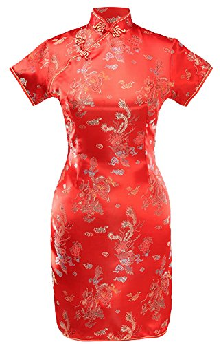 - 7Fairy Women's Vtg Red Dragon Mini Chinese Wedding Dress Cheongsam Size 4 US