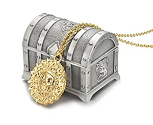 REINDEAR Pirates Of The Caribbean Movies Cursed Aztec Cortez Coin Pendant Necklace w/ Treasure Box US Seller (Gold)