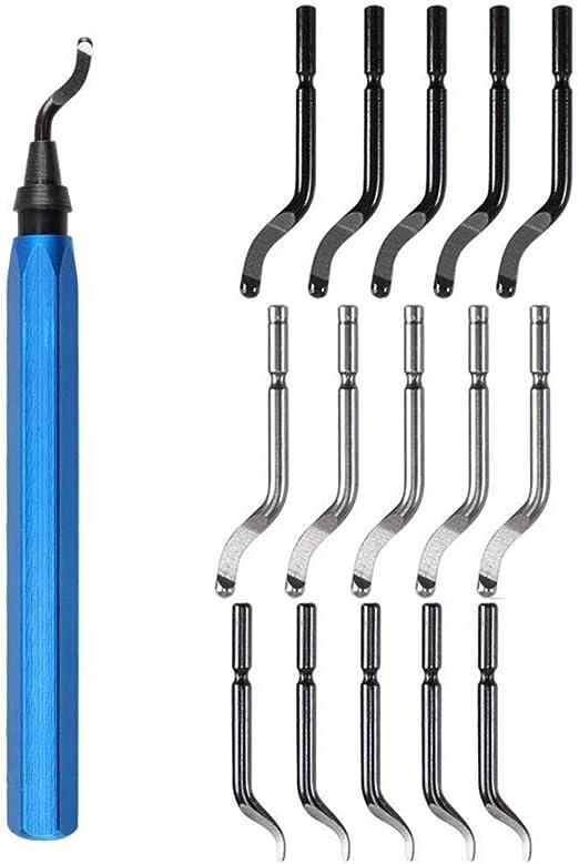 15Pcs Deburring Tool Kit Metal with Blades Swivel Handle Steel Burr Removing Set