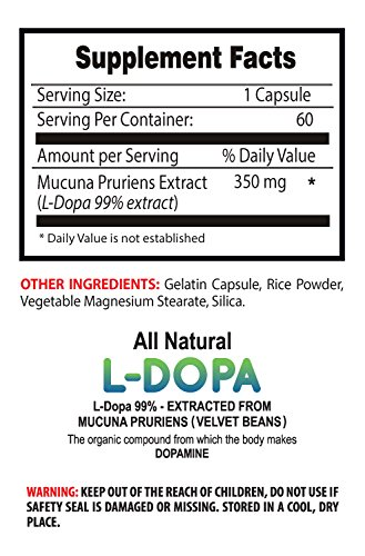 Libido enhancer supplement - L-Dopa 99% (MUCUNA PRURIENS EXTRACT) - Ldopa - 2 Bottles 120 Capsules