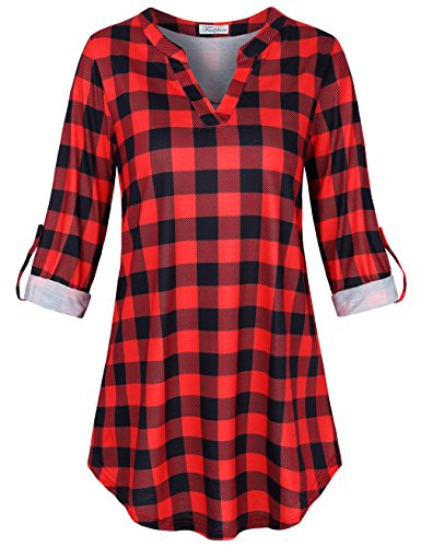 Faddare Plaid Blouse,Ladies Relaxed Fit Cuffed Sleeve Tunics,Black Red L