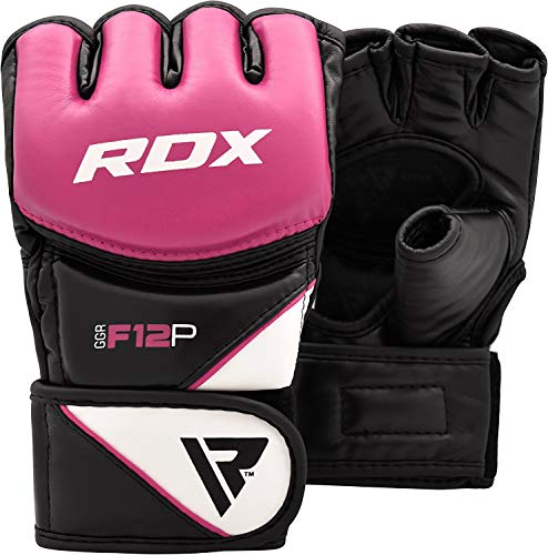 RDX Women's MMA Gloves Grappling Martial Arts Sparring Punching Bag Cage Fighting Maya Hide Leather Mitts UFC Combat Training ()