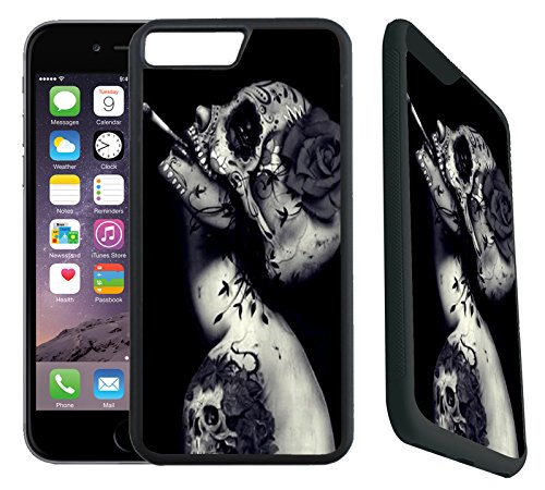[TeleSkins] - iPhone 7 Plus / iPhone 8 Plus Rubber Designer Case -Creative Skull Flower Tattoo Design - Ultra Durable Slim Fit, Protective Plastic with Soft RUBBER TPU Snap On Back Case / Cover. Fits (5.5 inch only)