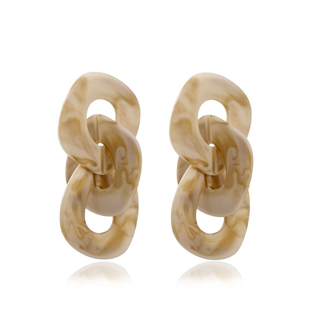 Acrylic Chunky Chain Links Geometric Drop Earrings KELMALL COLLECTION