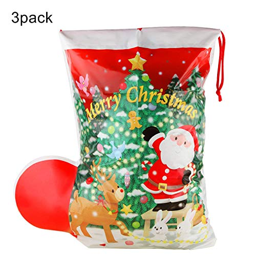 Christmas Gift Bag Set Bulk Santa Bags Sack Stocking Large 16''21.6''-3 Pieces