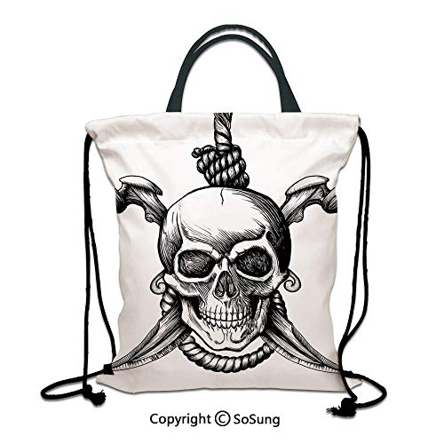Pirate 3D Print Drawstring Bag String Backpack,Jolly Roger Skull with Two Knifes Bones and Hanging Rope Gothic Criminal Halloween Decorative,for Travel Gym School Beach Shopping,Black White