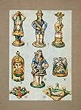 1928 Print Majolica Pottery Lamps Castel Del Monte Pilgrim Bottles Figure Fish - Orig. Tipped-In Print