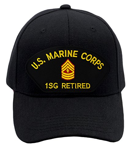 Patchtown US Marine Corps - First Sergeant Retired Hat/Ballcap (Black) Adjustable One Size Fits (Marine Corps Retired Ball Cap)