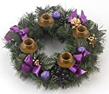 Purple Ribbon Advent Christmas Wreath Garland Decoration (Small Image)