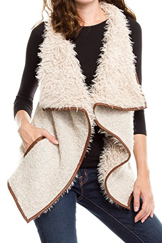(KAYLYN KAYDEN KLKD Women's Solid Shearling Contrast Open Drapey Vest Beige)