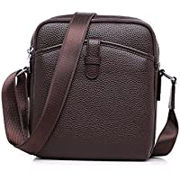 AMLAND Men's Small Shoulder Bag, Leather Bag, Fashion lightweight Cross Body Everyday Satchel Bag for Business Working Casual Sport Travel