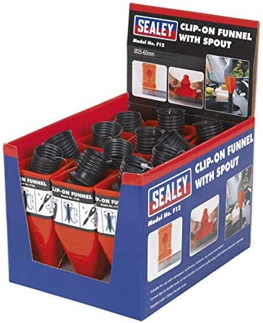 Display Box of 12 Sealey F12 Clip-On Funnel with Spout