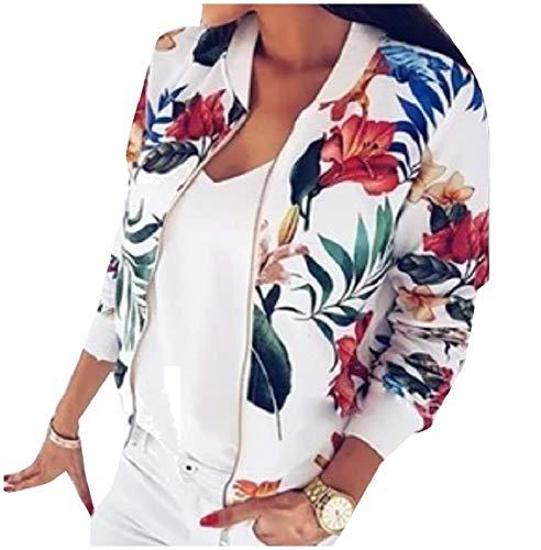 Women's Jacket Stand Patterned White Fit Mogogo Trim Zipper Bomber Collar 617qqaxdw