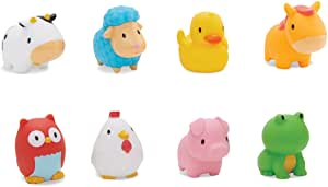 (Pack of 8) - Munchkin Floating Farm Animal Themed Rubber Bath Squirt Toys for Baby - Pack of 8