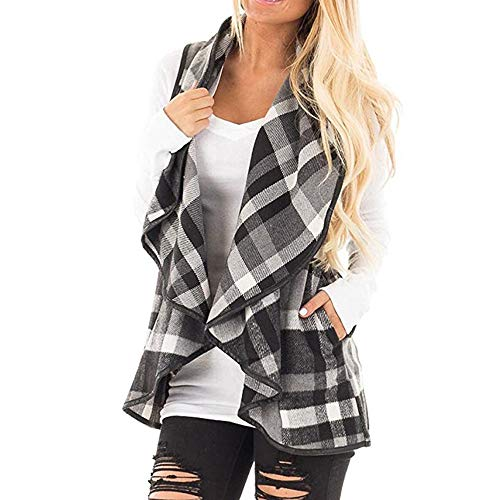 CUCUHAM Womens Vest Plaid Sleeveless Lapel Open Front Cardigan Sherpa Jacket Pockets winter(Y2-Black,Large) -