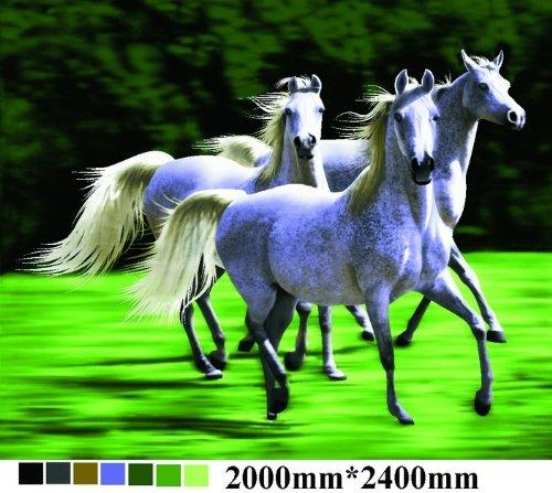 Mink Royal Blanket - 3 White Running Horses, Mink Style Queen Size Soft & Warm Blanket