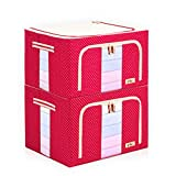 Instill 2 Pack - 66L Stackable Storage Box Polka Dots Oxford Cloth Steel Frame Shelf Quilt Clothing Blanket Pillow Shoe Holder Container Organizer See-through Window double zipper Folding (Red)