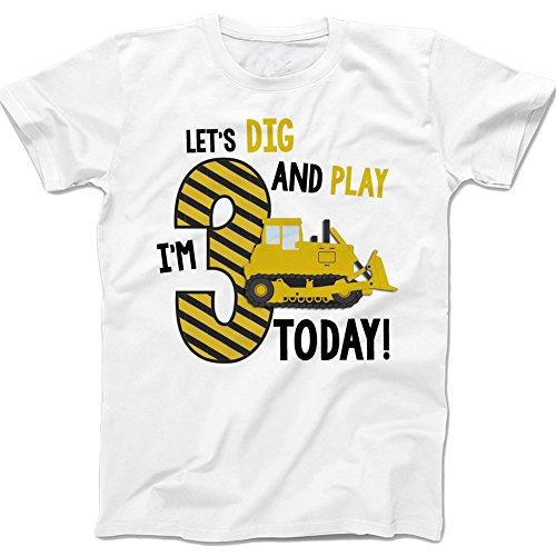 Third Birthday Shirt - Construction Theme Boy's Birthday (4 Tshirt, White)